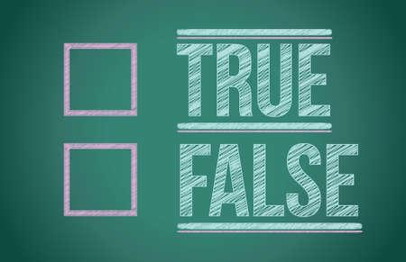 true false: true or false with checkboxes illustration design over white