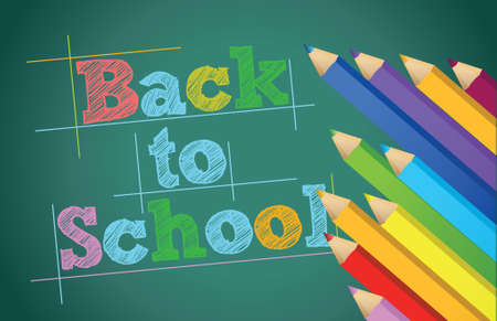 back to school with colors pencils over chalkboard illustration design Stock Vector - 17539545