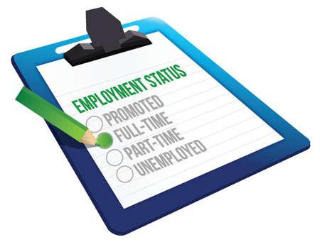 status: Employment Status clipboard illustration design over a white background