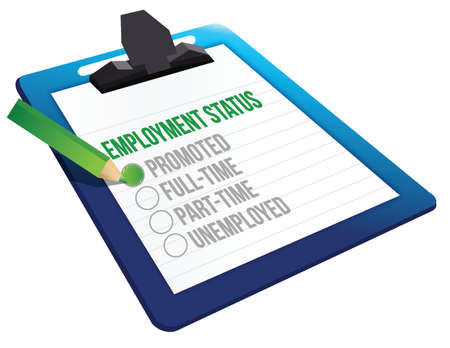 Employment Status clipboard illustration design over a white background Vector