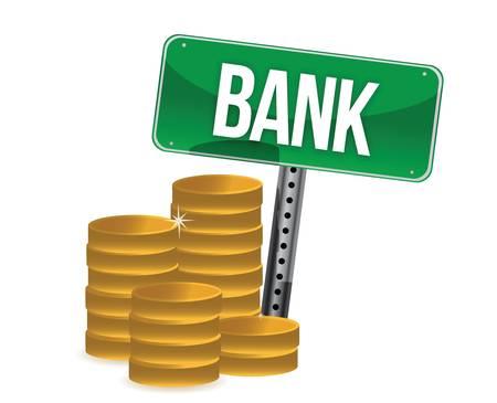 Saving money concept bank coins illustration design over white Vectores