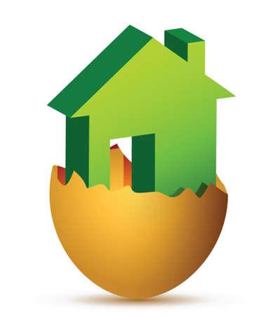 Concettuale casa in un guscio d'uovo, illustrazione, disegno Archivio Fotografico - 17539596