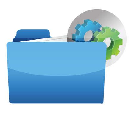 folder icon with gear wheel illustration design over white Stock Vector - 17539519