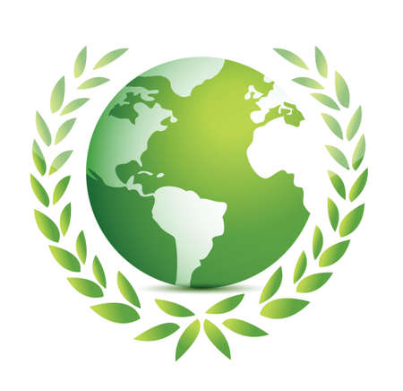 green earth icons on white illustration design over white Stock Vector - 17539612