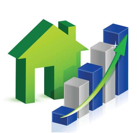 desarrollo económico: Negocios casa diseño ilustración sobre un fondo blanco Vectores