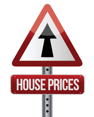 house prices rise sign illustration design over white 向量圖像