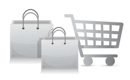 pay attention: sales shopping cart concept illustration design over a white background