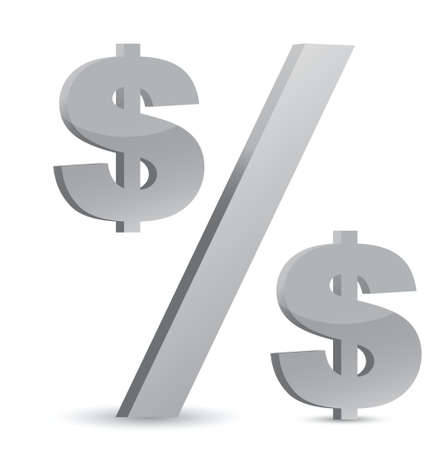 dollar currency percentage symbol illustration design over a white background Stock Vector - 17539999