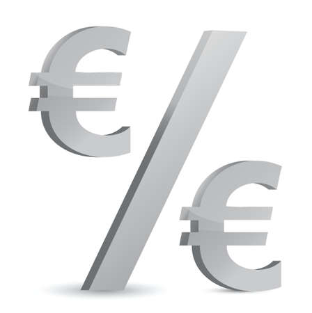 euro currency percentage symbol illustration design over a white background Stock Vector - 17527243