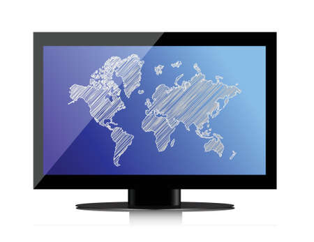 computer monitor with world map on screen illustration design Stock Vector - 17540231