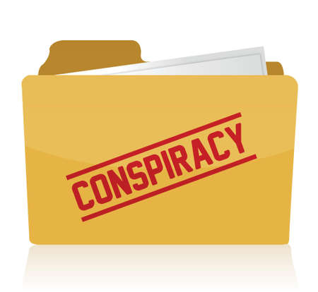 stamp showing the term conspiracy on a folder  Illustration design Stock Vector - 17539994
