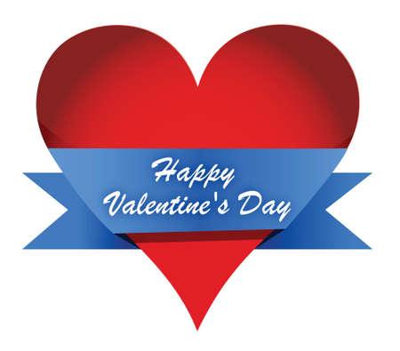 Red Glossy Heart Valentines day illustration design over white Imagens - 17540229