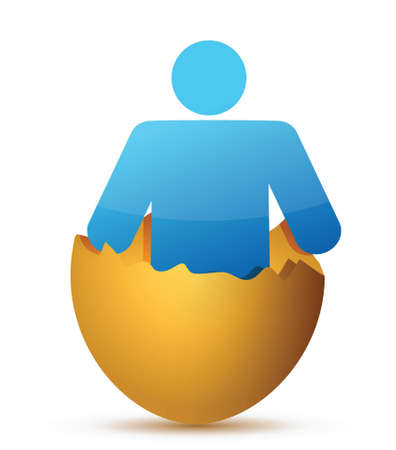 яичная скорлупа: Человек внутри трещины скорлупы дизайн иллюстрации на белом