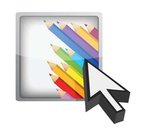 sistema operativo: bot�n art�stica y dise�o ilustraci�n cursor sobre blanco Vectores