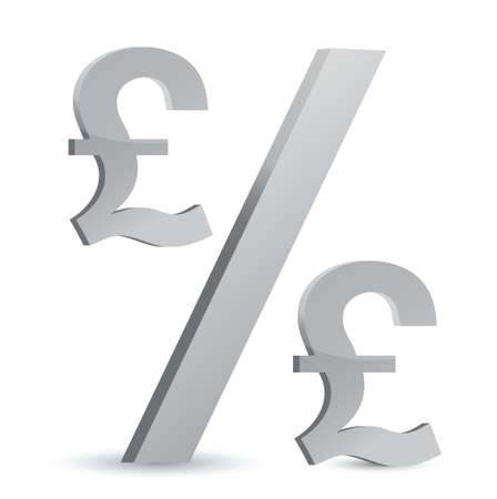 greenbacks: pound currency percentage symbol illustration design over a white background Illustration
