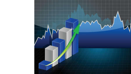 Business Graph Illustration design over a dark background Stock Vector - 17540230