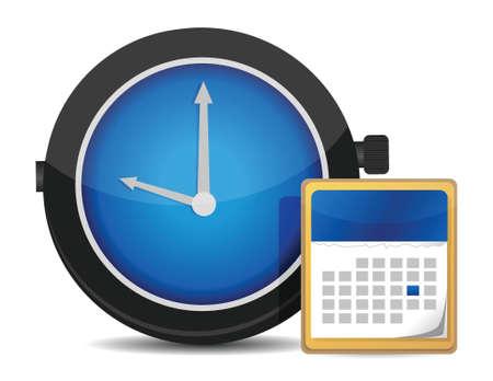 office clock: oficina reloj y calendario dise�o ilustraci�n m�s de blanco
