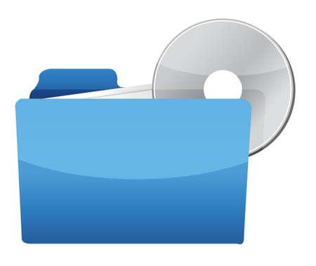folder with CD illustration design over a white background Stock Vector - 17568895