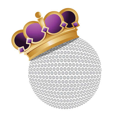 golf ball with a crown illustration design over a white background