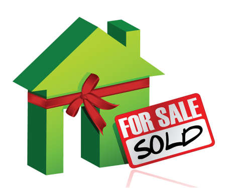 Miniature house with sign of sold or for sale illustration design Stock Vector - 17568946