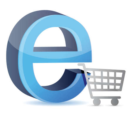 ie: Consumer basket with an internet sign illustration design over white