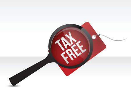 Tax Free Shopping tag Búsqueda diseño ilustración sobre un fondo blanco Ilustración de vector