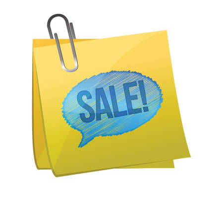 sale text on yellow sticky paper illustration design over white Stock Vector - 17568960
