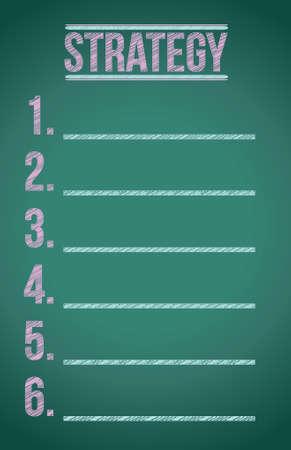 strategy listing illustration graphic design on a blackboard