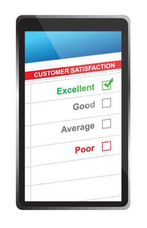 excellent customer service: customer satisfaction online selection tablet PC. Illustration design over white