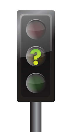 matter: Traffic lights with yellow question mark signal illustration design over white Illustration