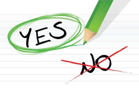 yes or no: yes and no choice illustration design over a white background