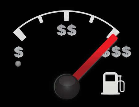 mpg: Gas gauge of a car with dollar symbols illustration design Illustration