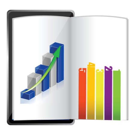 Tablet showing a spreadsheet graph paper illustration design over white Vector