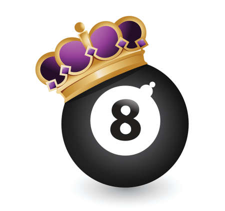 pool cue: eight ball with a crown illustration design over a white background
