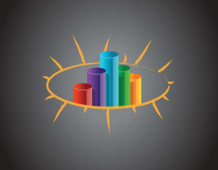 fluctuation: Business graph on a blackboard illustration design