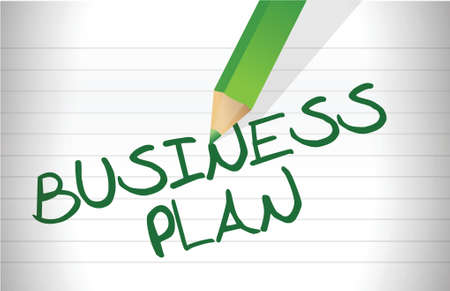 notepad background: BUSINESS PLAN text illustration over a notepad background Illustration