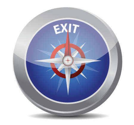 exit the way indicated by compass illustration design over white Stock Vector - 17594382