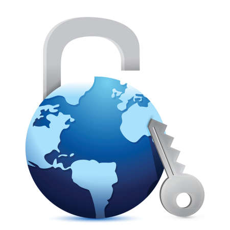 secure payment: Close globe lock illustration design over a white background