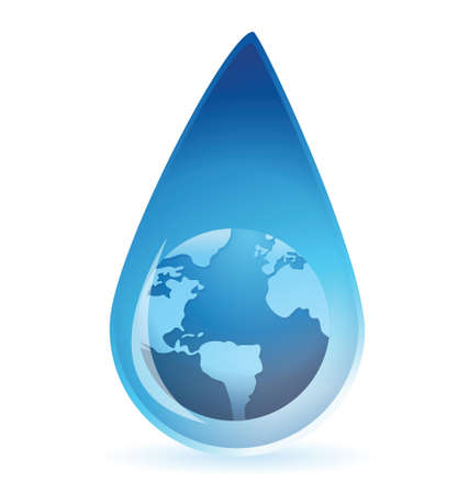 Globe in a drop illustration design over a white background Stock Vector - 17594660