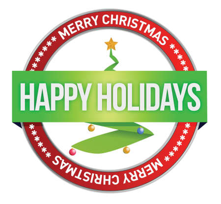Merry christmas tree stamp seal illustration design over white Stock Vector - 17594661