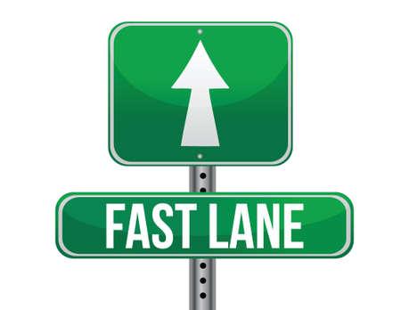 fast lane: Fast Lane Green Road Sign dise�o ilustraci�n sobre un fondo blanco