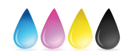 color mixing: CMYK concept as cyan magenta yellow and black drops of ink illustration Illustration