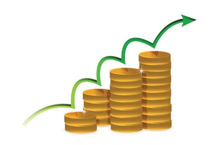 illustration coins of financial success illustration design over white