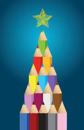 Multi colored art pencils in Christmas pine tree greeting card illustration Vector