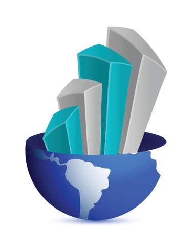 세계를 비즈니스 그래프 흰색 배경 위에 그림 디자인 일러스트