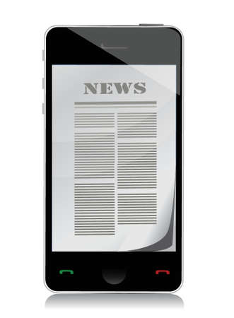 touch screen phone: reading news on touch screen phone illustration design over white