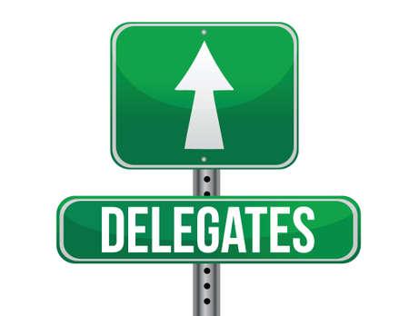 delegates: I delegati Green Road Sign design illustrazione su uno sfondo bianco