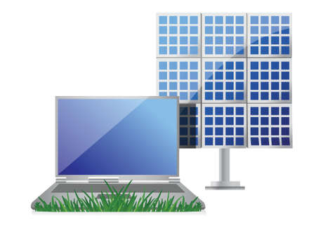 green it concept with laptop and solar cell panel illustration design over white Stock Vector - 17662722