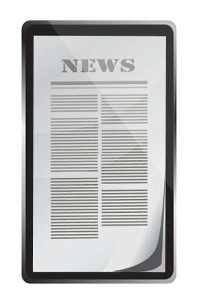reading news on touch screen tablet illustration design over white Vector
