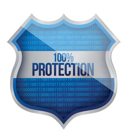 100% Protection concept illustration design over a white background